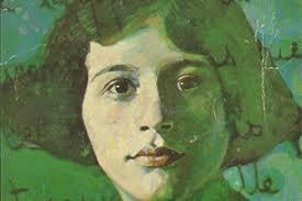 Simone Weil peinture visage fond vert apparence-Atlaneastro