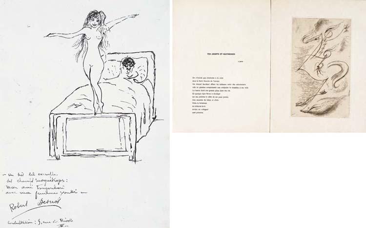 dessions Robert Desnos N et B femme debout nu sur son lit Part.2-Atlaneastro