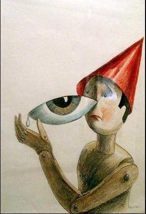 dessin Roland Topor bonhomme en bois chapeau rouge et oeil Part.1-Atlaneastro