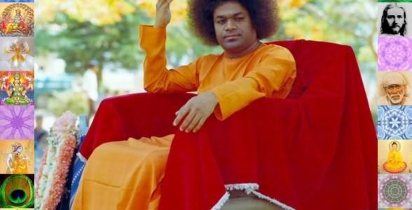 Sai Baba vêtu de jaune et de rouge assis Part.2-Atlaneastro