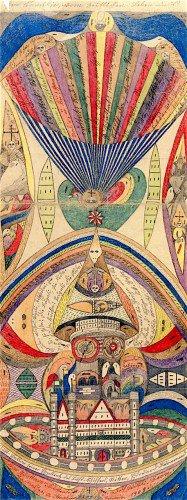 Adolf Wolfli dessin fond beige avec du bleu et du rouge Part.2-Atlaneastro
