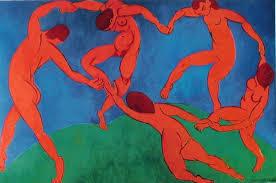 Pablo Picasso les personnages orangés dansent fond bleu et vert Part.1-Atlaneastro