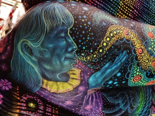 Jean-Michel Gasend peinture visionnaire un homme bleu et violet Part.2-Atlaneastro